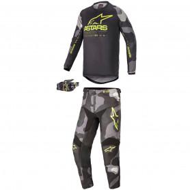 Tenue motocross ALPINESTARS Enfant Racer Tactical Camouflage Jaune Fluo 21