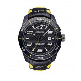montre-alpinestars-tech-watch-3h-noir-jaune-bracelet-cuir-noir-jaune
