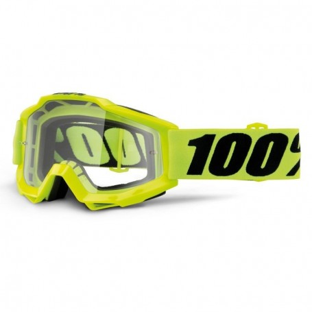 Masque Cross 100% The Accuri Fluo Yellow Spéciale OTG Clair
