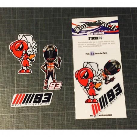 Pochette de 6 Stickers BURN OUT Marquez 93