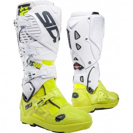 Bottes Moto Cross SIDI Crossfire SRS 3 Limited Edition Cairoli Tc 222 Jaune Fluo Blanc
