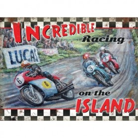 Plaque Métal A 40 x 30 cm Incredible Racing On The Island LES COLLECTIONS RETRO
