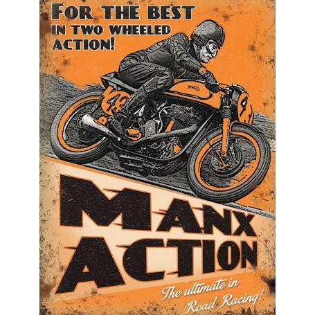Plaque Métal A 40 x 30 cm Manx Action M LES COLLECTIONS RETRO