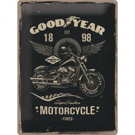 Plaque Métal Relief 40 x 30 cm Goodyear Motorcycle NOSTALGIC ART