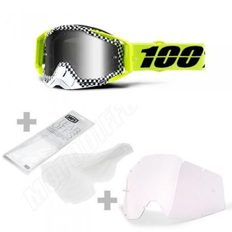 Masque Cross 100% The Racecraft Andre Miroir Silver