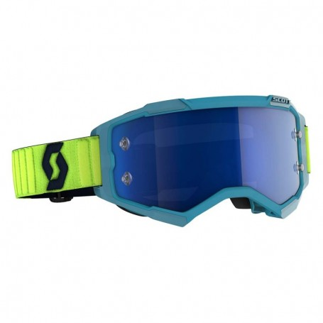 Masque Cross SCOTT Fury Teal Blue Neon Yellow Electric Blue Chrome Works