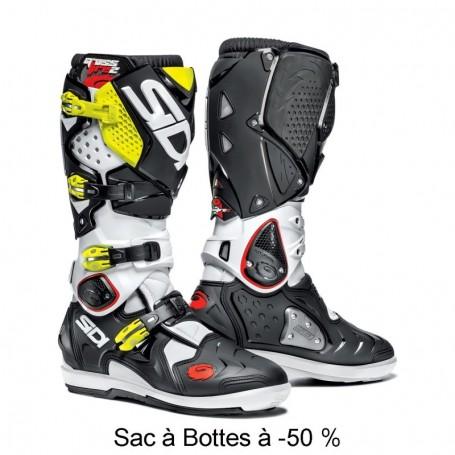Bottes Moto Cross SIDI Crossfire SRS 2 Blanc Noir Jaune Fluo