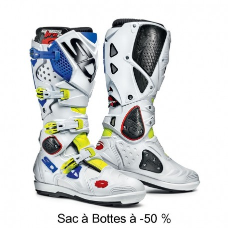 Bottes Moto Cross SIDI Crossfire SRS 2 Jaune Fluo Blanc Bleu