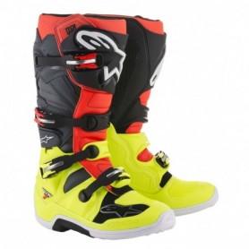 Bottes Moto Cross ALPINESTARS Tech 7 Yellow Fluo Red Fluo Gray Black