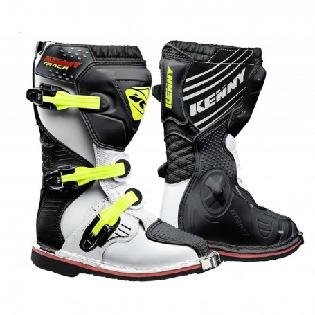 Bottes Moto Cross KENNY Track Junior White Black Neon Yellow