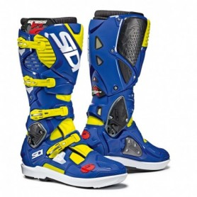 Bottes Moto Cross SIDI Crossfire SRS 3 Jaune Fluo Bleu