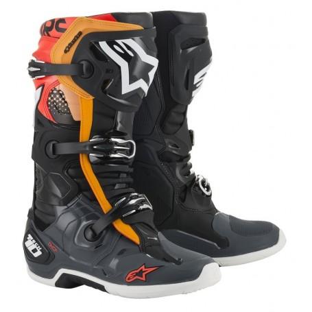 Bottes Moto Cross ALPINESTARS Tech 10 Black Gray Orange Red Fluo