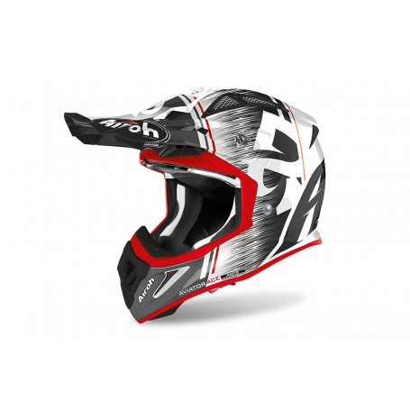 Casque Cross AIROH Aviator Ace Kybon Red Gloss