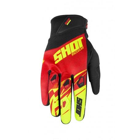 Gants Moto Cross SHOT Devo Kid Ventury Black Red Neon Yellow 20