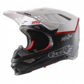 Casque cross ALPINESTARS Supertech S-M 8 Ece Black White Dp Red Limited Edition X DEUS 20 Matt