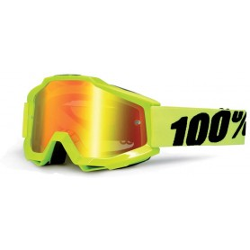 Masque Cross 100% The Accuri Fluo Yellow Miroir Red Enfant