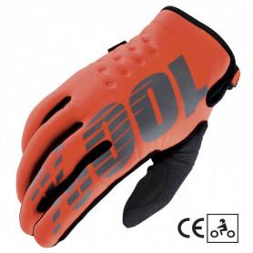 Gants-Moto-Cross-100%-The-Brisker-Orange-Black