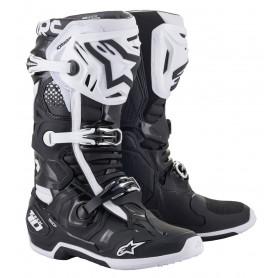 bottes-moto-cross-alpinestars-tech-10-noire-blanche