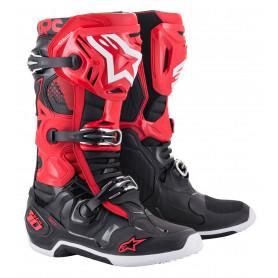 bottes-moto-cross-alpinestars-tech-10-rouge-noire