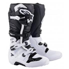 bottes-moto-cross-alpinestars-tech-7-blanche-noire