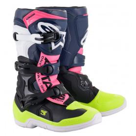 bottes-moto-cross-alpinestars-tech-3-s-noire-bleu-fonce-rose-fluo-enfant