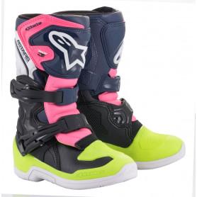bottes-moto-cross-alpinestars-tech-3-s-noire-bleu-fonce-rose-fluo-petit-enfant