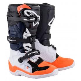 bottes-moto-cross-alpinestars-tech-7s-noire-blanche-orange-fluo-enfant